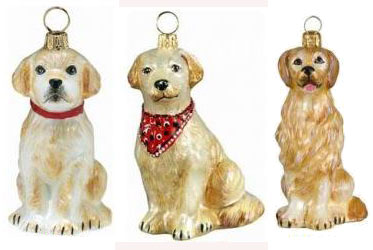 blown glass golden retriever ornaments